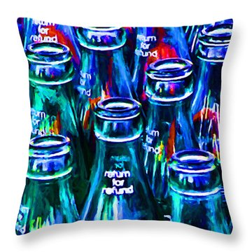 Coca-cola Coke Bottles - Return For Refund - Painterly - Blue Throw Pillow