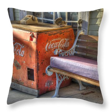 Coca Cola Cooler Back In Time Throw Pillow by Bob Christopher