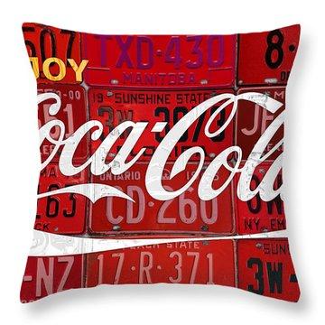 Coca Cola Enjoy Soft Drink Soda Pop Beverage Vintage Logo Recycled License Plate Art Throw Pillow