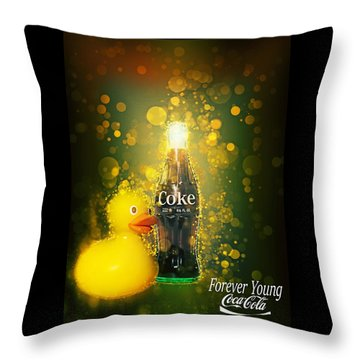 Throw Pillow featuring the photograph Coca-cola Forever Young 5 by James Sage