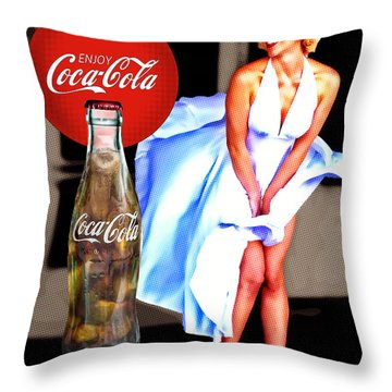 Throw Pillow featuring the photograph Coca Cola Girl Marilyn by James Sage