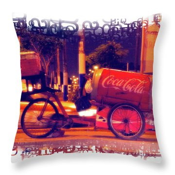 Throw Pillow featuring the photograph Coca Cola Tricycle Bin - Lima by Mary Machare