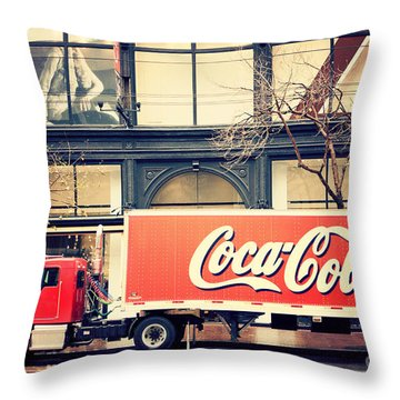 Coca-cola Truck In San Francisco Throw Pillow