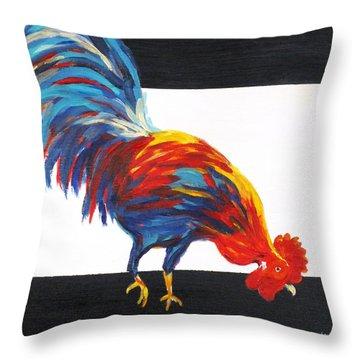 Cock-a-doodle-doo-too Throw Pillow by Diane Arlitt
