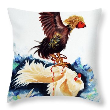 Cock Fighting Throw Pillow