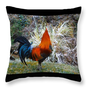 Cock Walk II Throw Pillow by Donna Dixon