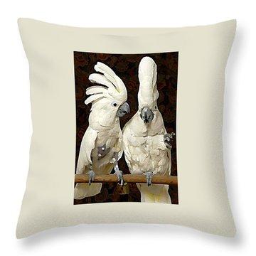 Cockatoo Conversation Throw Pillow
