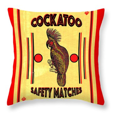 Cockatoo Safety Matches Throw Pillow by Carol Leigh