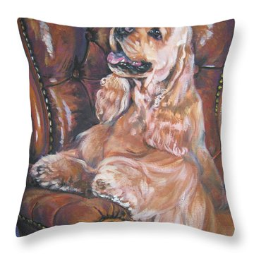 Cocker Spaniel On Chair Throw Pillow by Lee Ann Shepard