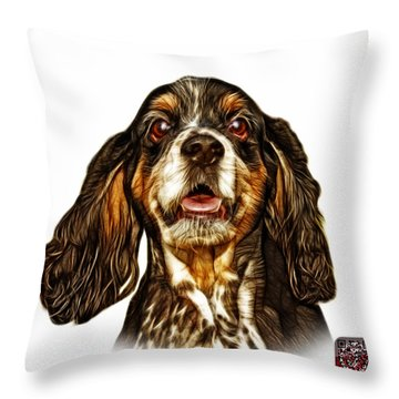 Cocker Spaniel Pop Art - 8249 - Wb Throw Pillow by James Ahn