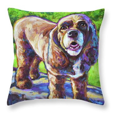 Throw Pillow featuring the painting Cocker Spaniel  by Robert Phelps