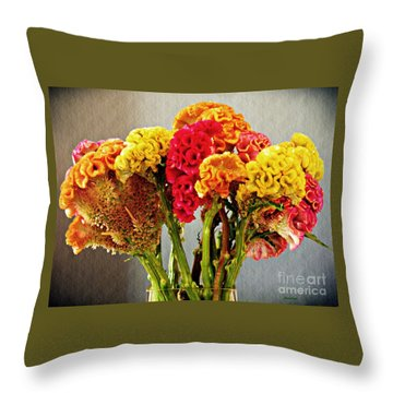 Throw Pillow featuring the photograph Cockscomb Bouquet 3 by Sarah Loft