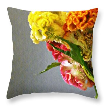 Throw Pillow featuring the photograph Cockscomb Bouquet 4 by Sarah Loft