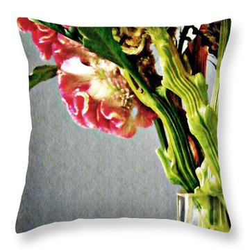 Throw Pillow featuring the photograph Cockscomb Bouquet 5 by Sarah Loft