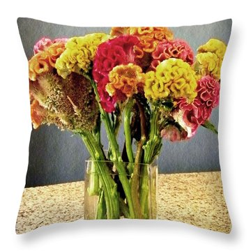 Throw Pillow featuring the photograph Cockscomb Bouquet by Sarah Loft