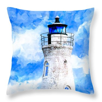 Cockspur Island Light - Georgia Coast Throw Pillow by Mark Tisdale