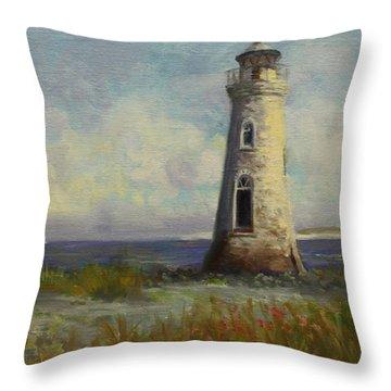Cockspur Island Lighthouse Throw Pillow by Nora Sallows