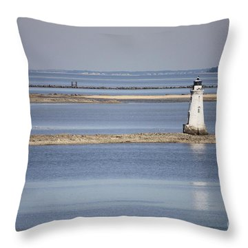Cockspur Island Lighthouse With Jetty Throw Pillow by Carol Groenen