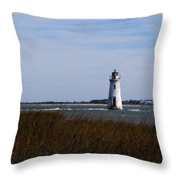 Cockspur Lighthouse Throw Pillow