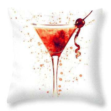 Cocktail Drinks Glass Watercolor Red Throw Pillow