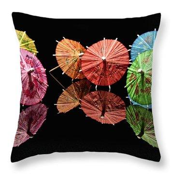 Blue Umbrella Throw Pillows