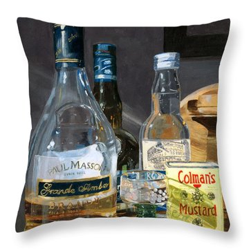Throw Pillow featuring the painting Cocktails And Mustard by Lynne Reichhart