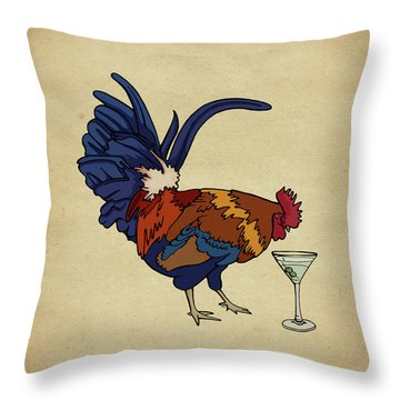 Throw Pillow featuring the mixed media Cocktails by Meg Shearer