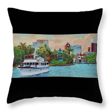 Cocktails On The New River Throw Pillow