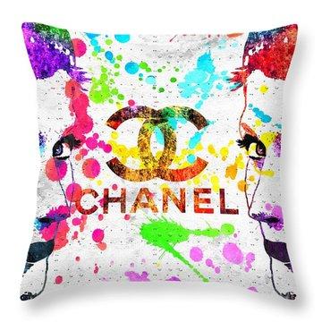 Coco Chanel Grunge Throw Pillow by Daniel Janda