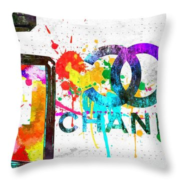 Coco Chanel No. 5 Grunge Throw Pillow by Daniel Janda
