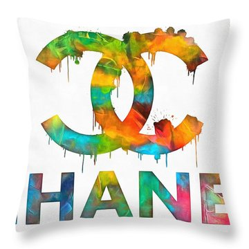 Coco Chanel Paint Splatter Color Throw Pillow by Dan Sproul