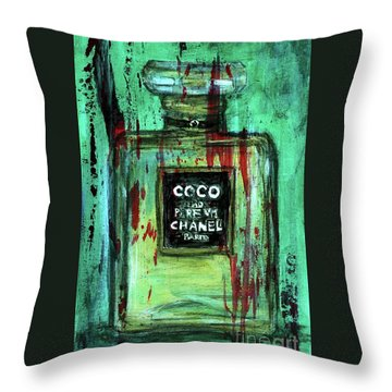 Throw Pillow featuring the painting Coco Potion by P J Lewis