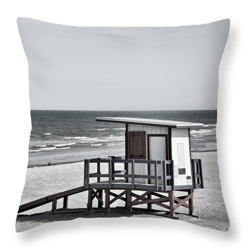 Cocoa Beach - Life Guard Shack - Florida - B/w Throw Pillow by Greg Jackson