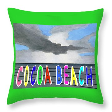 Cocoa Beach Poster T-shirt Throw Pillow by Dick Sauer