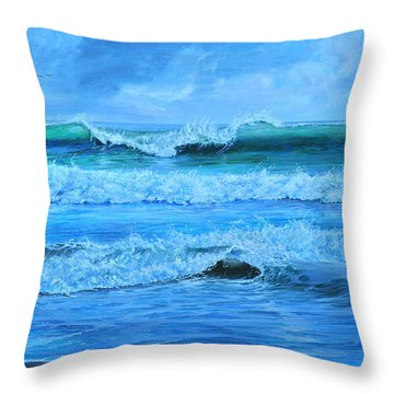 Throw Pillow featuring the painting Cocoa Beach Surf by AnnaJo Vahle