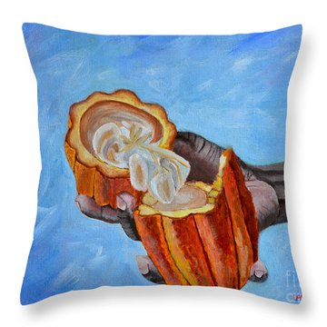 Cocoa Pod In Hand V2 Throw Pillow