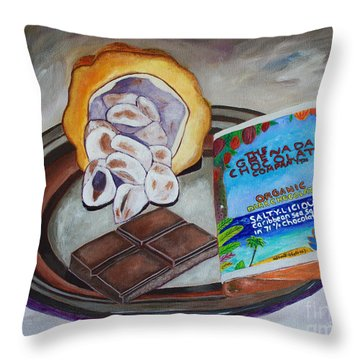 Cocoa Pod To Chocolate Bar Throw Pillow