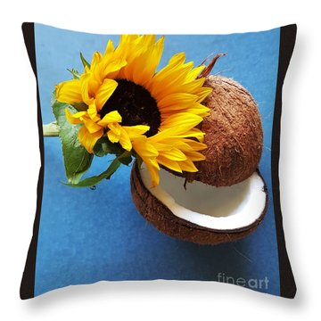 Coconut And Sunflower Harmony Throw Pillow by Jasna Gopic