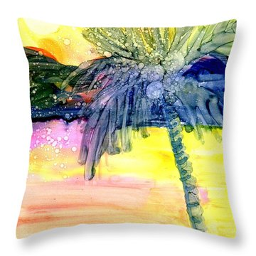 Coconut Palm Tree 3 Throw Pillow by Marionette Taboniar