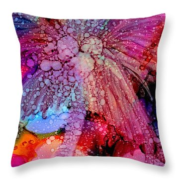 Throw Pillow featuring the painting Coconut Palm Tree 4 by Marionette Taboniar
