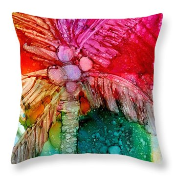 Coconut Palm Tree Throw Pillow by Marionette Taboniar