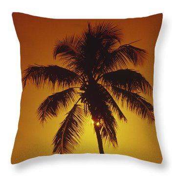 Coconut Palm Tree Sunset Throw Pillow