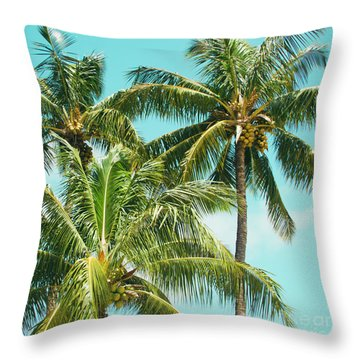 Throw Pillow featuring the photograph Coconut Palm Trees Sugar Beach Kihei Maui Hawaii by Sharon Mau