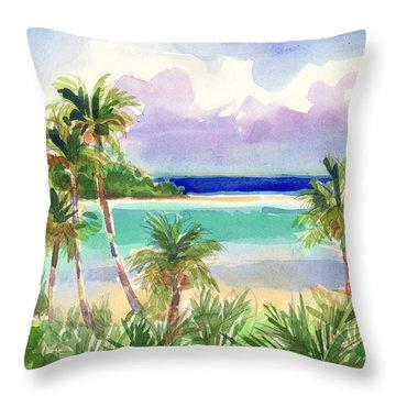 Coconut Palms And Lagoon, Aitutaki Throw Pillow