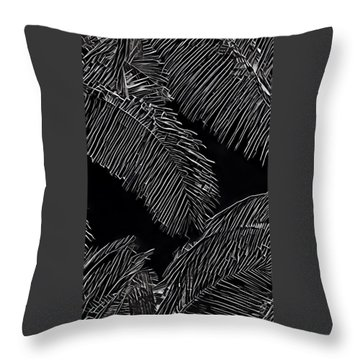 Coconut Palms In Black And White Throw Pillow