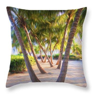 Coconut Palms Inn Beachfront Throw Pillow