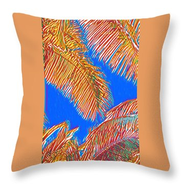 Coconut Palms In Red And Blue Throw Pillow