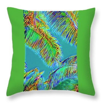 Coconut Palms Psychedelic Throw Pillow