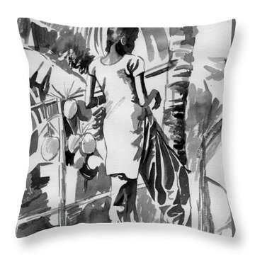 Coconut Seller From Alleppy Throw Pillow