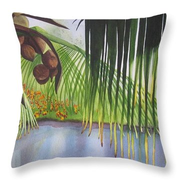 Coconut Tree Throw Pillow by Teresa Beyer
